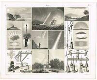 ORIGINAL ANTIQUE PRINT VINTAGE 1851 ENGRAVING METEOROLOGY METEOROLOGICAL TOOLS