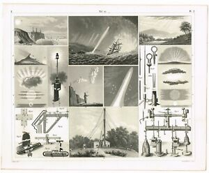ORIGINAL ANTIQUE PRINT VINTAGE 1851 ENGRAVING METEOROLOGY METEOROLOGICAL TOOLS