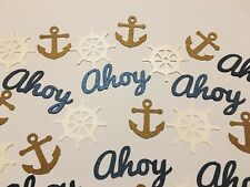Anchor Ahoy Ships Wheel Nautical Table Confetti Pirate Party Summer Birthday