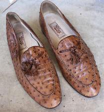 Vintage Mezlan Ostritch Leather Men's Tassel Loafers Shoes Size 8.5 M Spain