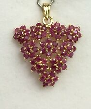 14k Solid Yellow Gold Big Flowers Cluster Pendant, Natural Round Ruby 6.5TCW