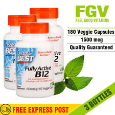 ✅DOCTOR'S BEST - Fully Active B12 - 1500 mcg 60 Veggie Caps