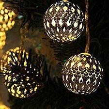 12 METALLO GLOBO PALLA Luminarie Di Natale Energia Solare Esterno FILO LUCI