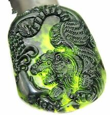 Chinese Natural Black Green Jade Carved Tiger Lucky Pendant + Rope Necklace