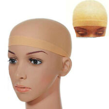 2PCS Elastic Unisex Stocking Wig Liner Cap Snood Nylon Stretch Mesh Beige Tool
