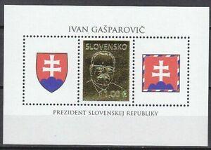 Slovakia 2009 President Ivan Gasparovic Gold foil Unique Unusual Miniature sheet