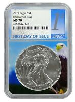 2019 1oz Silver Eagle NGC MS70 - First Day Issue - Eagle Core