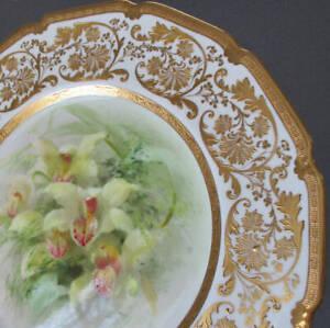 """Antique ROYAL DOULTON Porcelain 10.5"""" Plate ORCHIDS Dewsberry Ornate Raised GILT"""