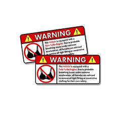 "Vehicle - Twin Turbo Engine Warning No Bra Self Adhesive Sticker - 2 PACK 5"""