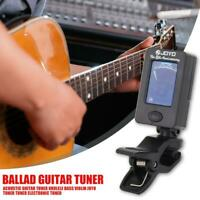 LCD Mini Gitarre Stimmgerät Bass ClipOn Ukulele Violine Chromatic Tuner Klemmbar