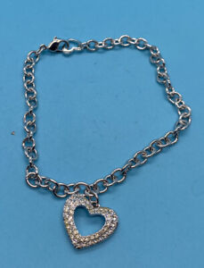 Gorgeous Silver Tone Clear Crystal Signed  Swarovski Heart Anklet