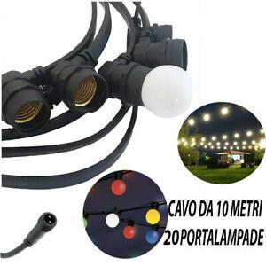 CATENARIA LUCI 10MT 20 PORTALAMPADE E27 NERA ALLUNGABILE IP65 INTERNO ESTERNO SC