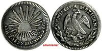 Mexico FIRST REPUBLIC Silver 1859 Zs Mo 1 Real Zacatecas Mint KM# 372.10
