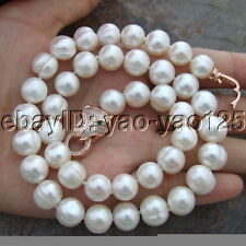 """On Sale 17"""" 10mm - 11mm White Black Gray Multi Color Round Pearl Necklace"""