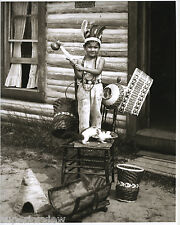 Native American Ojibwe Tribe Basket Making Little Boy With Souvenirs Michigan