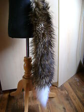Long Luxury 24 Inch Brown Fox Tail With White Luxury Faux Fur Trim Fancy Dress