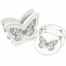 Set of 4 Butterfly Wooden Coasters with Holder Home Decor Shabby Chic Rustic