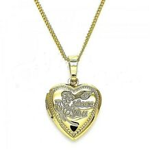 9ct Gold GF I Love You Heart Locket Pendant Chain  Engraved Locket Necklace B571