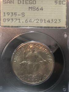 1935-S San Diego Commemorative Half PCGS MS64 Rattler Holder