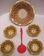 Old 6 Piece Planter's Nuts Serving Set 5 Tin Bowls Figural Mr Peanut Spoon 1950s