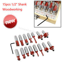 "Durable 15pcs 1/2"" Shank Woodworking Router Bits With Wood Case Carbide Blade"