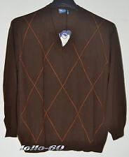 MAGLIA UOMO lana Taglie Forti 5XL scollo V pullover calibrato oversize marrone