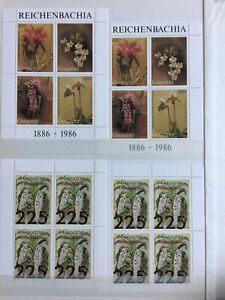 TCStamps 12X Pages of Guyana ORCHID FLOWER Postage Stamps + Souvenir Sheets #077