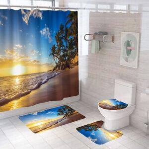 Seaside Shower Curtain Bathroom Rug Set Thick Bath Mat Non-Slip Toilet Lid Cover