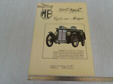 brochure depliant originale Erad replica MG ME cycle car midget prospekt