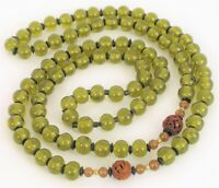 ANTIQUE CHINESE GREEN BEAD GLASS SHOU NECKLACE CARVED WOOD BEADS FINE ART DECO