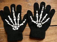 Boys H&M Black Skeleton Bones Motif gloves  9-10 Halloween Goth