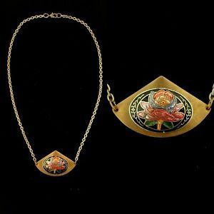 Vintage 1970s Cloisonne Enamel Flower Pendant Necklace