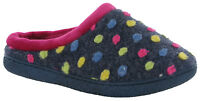 WOMENS SLIPPERS WARM LINED CUSHION WALK SOFT PADDED SHOES DOLLY DOTS UK 4-8
