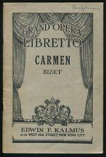 CARMEN Grand Opera Libretto Bizet Opera in Four Acts w/Italian & English Kalmus