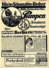 Klein-Schanzlin-Becker AG Berlin NW7 PUMPEN KONDENZTÖPFE Ad 1918