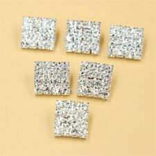 Rhinestone Crystal Alloy Silver Shank Buttons DIY Costume Sewing Crafts 10 Pcs