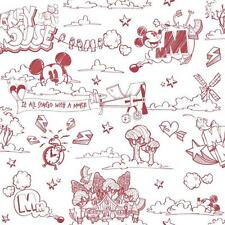 DISNEY MICKEY MOUSE PATTERN PENCIL CARTOON CHILDRENS WALLPAPER ROLL RED WHITE