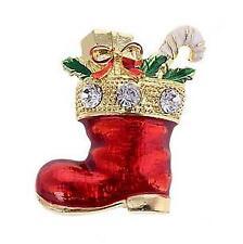 SANTA'S Natale Smalto Rosso & Gioiello Boot con regali Spilla/Pin Grande Regalo