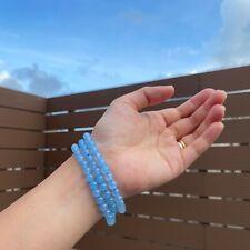 6mm Natural Blue Chalcedony Round Beads Chakra Bracelet