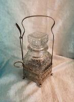 Vintage Pickle Castor Condiment Glass Jar Silver Carrier Victorian Square w Fork