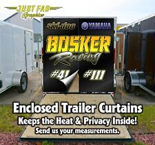 Race Team Custom Enclosed Trailer Rear Door Curtains Yamaha Kawasaki Ski-Doo