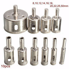 10x Diamond Hole Saw 8-50mm Tile Ceramic Stone Glass Marble Drill Bits Cutter