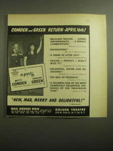 1959 A Party Advertisement - Betty Comden and Adolph Green