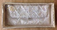 Vintage La Regale White Beaded Sequin Satin Clutch Hand Bag Formal Purse Japan
