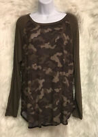 Faded Glory Baseball Tee Olive Green Camouflage Long Sleeve Sz L - NWT