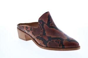 Frye Ray Mule 71677 Womens Brown Leather Slip On Mules Heels Shoes 7.5