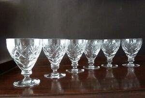 6 Royal Doulton Crystal Georgian Cut Water or Wine Glasses, Signed, h11,6cm