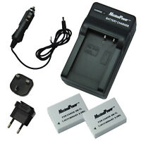 2x BATTERIES + CHARGER Pack for CANON NB-7L PowerShot G10 G11 G12 Camera Battery