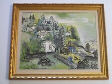 GUY MACCOY ABSTRACT PAINTING MODERNISM CUBISM CITY FIGURES 1960'S LANDSCAPE RARE