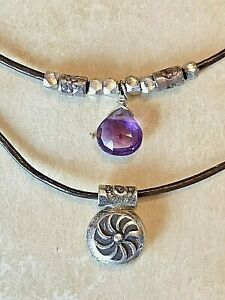 NEW $128 Sundance Catalog Amethyst Leather February Sterling Silver Necklace NWT